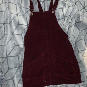Top shop overall velvet dress in maroon size 2♥️